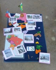 América del sur con sus fotos y banderas