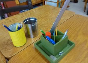 Material preparado para cada grupo de mesas