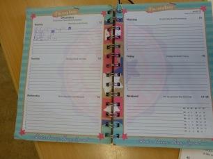 Agenda de una niña después de programarse el día